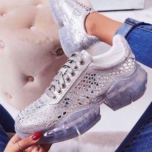 Trendy Bling Silver Rhinestone Sneakers